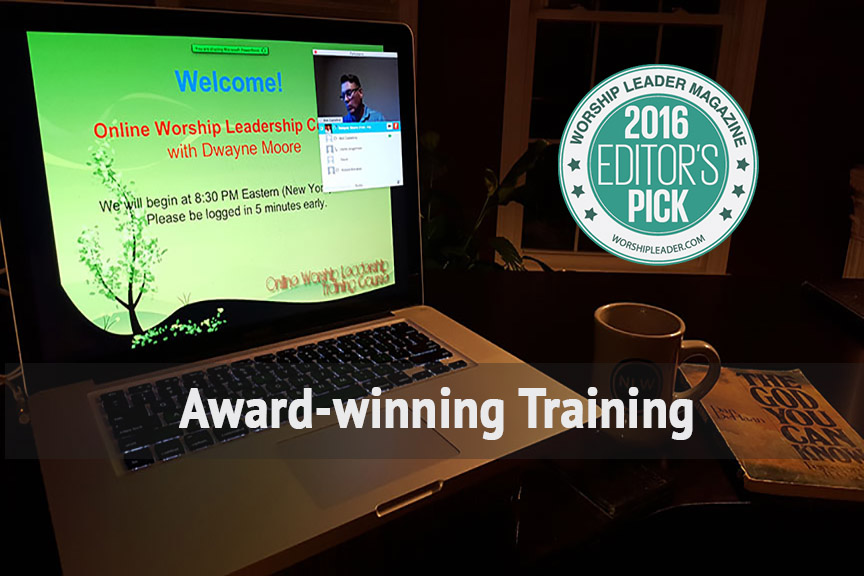 <b>Award-winning Training</b><br> Dwayne's unique and relational teaching style and his vast experience and knowledge has garnered him multiple Best of the Best Awards from <em>Worship Leader Magazine</em>. Click on Training at the top for our online courses or live conferences.