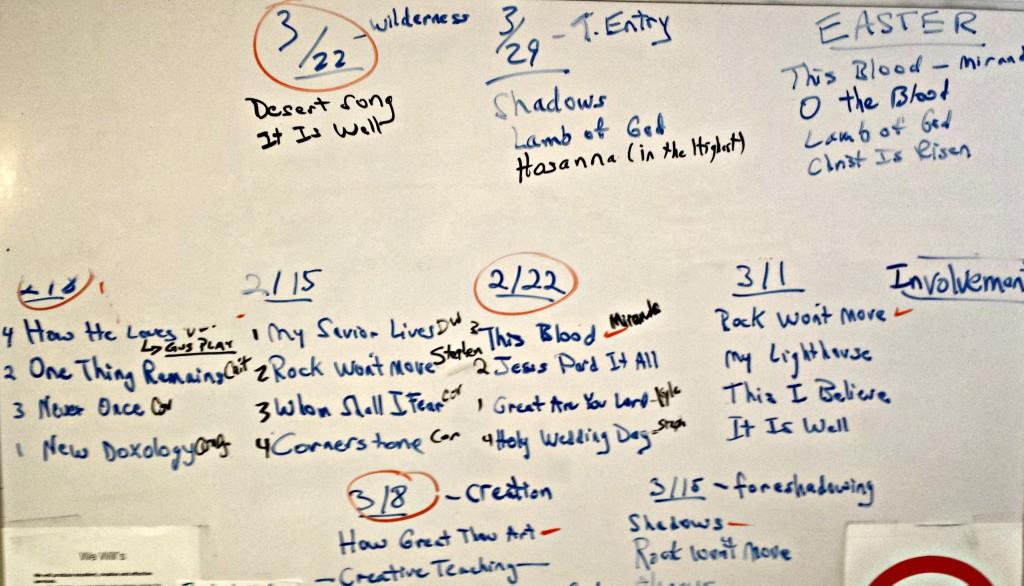 white board worship planning